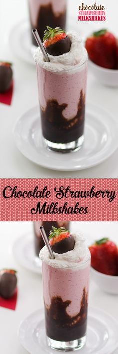 The perfect Strawberry shake with fudge sauce layered in. Great dessert for a night in!