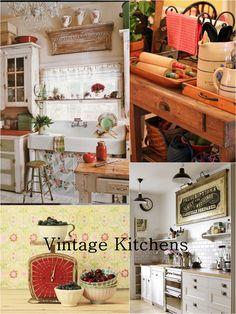 vintage kitchens, vintage home decor from delightful finds & me blog -   www.delightfulfindsandme.com