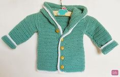 Learn how to make this cute crochet baby cardigan over at Little Things Blogged; free pattern!