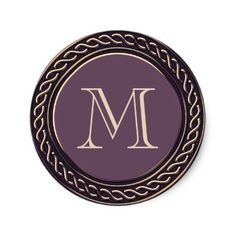 Purple Celtic Frame Monogram Classic Round Sticker - plain gifts style diy cyo