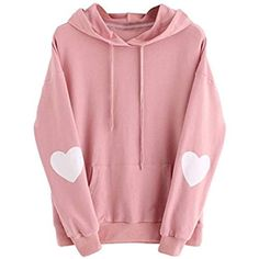 IEason Womens Long Sleeve Heart Hoodie Sweatshirt Jumper Hooded Pullover Tops Blouse -- Check out the image by visiting the link. (This is an affiliate link) Hoodie Sweatshirts, Red Long Sleeve Tops, Long Sleeve Shirts, Bauchfreier Pullover, Girl Sweat, Jugend Mode Outfits, Crop Top Sweater, Long Hoodie, Red Hoodie