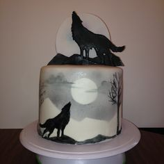 Wolf cake. Gum paste moon and wolf topper, painted fondant