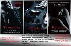 THOUGHTLESS, EFFORTLESS, RECKLESS by S.C. STEPHENS - UK COVERS SIGNED PAPERBACKS GIVEAWAY