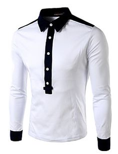 Micool Men's Casual Shirt Collar Long Sleeve Casual Shirts (Cotton/Cotton Blend)