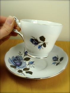 Blue Roses Bone China Teacup from Regency of by TinyandBeautiful