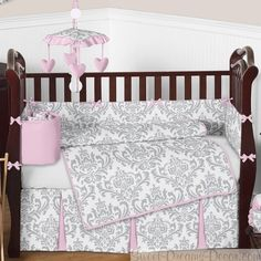 Elizabeth Baby Girl Crib Bedding Set - Beautiful damask pattern in gray and white with pink accents. Available June, 2013