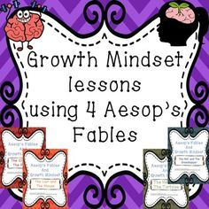 This is a Growth Mindset bundle containing four individual lessons using Aesop's Fables. The Crow and The Pitcher, The Lion and The Mouse, The Ant and The Grasshopper, The Tortoise and The Hare. These fables are really great, simple to understand stories that work so well with many ideas of Growth Mindset.