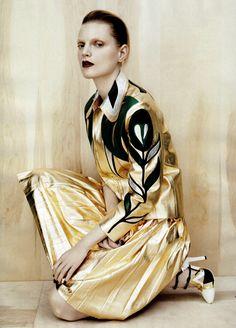 Guinevere Van Seenus by Josh Olins for Vogue China - Miu Miu leather jacket and pleated skirt