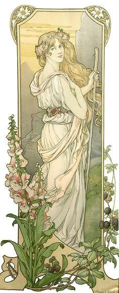 "Mucha Style - "" Illustration in style of ""Alphonse Mucha"" by ""Elisabeth Sonrel Art Nouveau Mucha, Alphonse Mucha Art, Art Nouveau Poster, Art And Illustration, Victorian Illustration, Design Art Nouveau, Art Design, Fantasy Kunst, Fantasy Art"