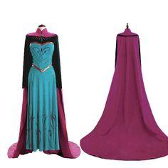 Frozen+Anna+Princess+Costume+Cosplay+Dress+Tops+Cloak+For+Adult+6+8+10+12+14+16