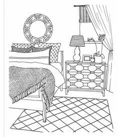 The Inspired Room Coloring Book: Creative Spaces to Decorate as You Dream Animal Coloring Pages, Coloring Book Pages, Printable Coloring Pages, Coloring Sheets, Diy Pour Enfants, House Colouring Pages, Detailed Coloring Pages, Doodle Art Drawing, House Drawing