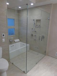 Call Binswanger Glass Kansas City @ to design and install custom shower enclosures to fit any space! Frameless Shower Enclosures, Custom Shower, Glass Shower Doors, Small Bathroom, Master Bath, Kansas City, Bathtub, Tips