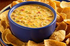 Chorizo Queso Dip — Creamy queso dip gets a nice, spicy kick with fresh pork chorizo and diced tomatoes with green chiles.