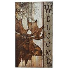 Moose Welcome Sign - A Black Forest Decor Exclusive - A friendly forest resident greets your guests in the wooden Moose Welcome Sign with a vintage look. This regal moose with pine branches makes your home or cabin an inviting place. Measures x x 27 ~ Tole Painting, Painting On Wood, Moose Decor, Black Forest Decor, Rustic Wood Signs, Rustic Decor, Pallet Art, Reno, My New Room