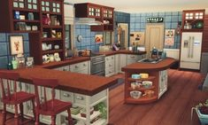 The endlessly talented renorasims has been creating a complete makeover of the Brohill kitchen, and has kindly let me play around with it like a kid in a candy store. Here are some pictures of the Heckings' remodelled kitchen. Sims 4 House Plans, Sims 4 House Building, Building Games, Sims 4 Kitchen, Muebles Sims 4 Cc, Sims 4 House Design, Casas The Sims 4, Sims Four, Sims 4 Characters