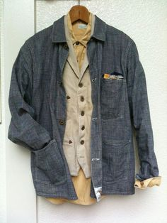 Layering with vintage denim work jacket