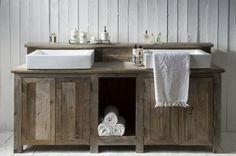 Vanity wood rustic bathroom sink bathroom set up riviera maison