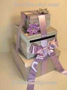 Items similar to Wedding Card Box Silver and Purple Gift Card Box Money Box Holder--Customize your color on Etsy Wedding Gift Card Box, Money Box Wedding, Gift Card Boxes, Wedding Boxes, Wedding Cards, Wedding Ideas, Wedding Reception, Book Presentation, Pretty Box