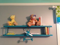 Airplane shelf. So cute for nursery, kids room, den, or plane enthusiast. Measures 3 ft long, 7 in tall, and 5.5 in wide. This listing is for a