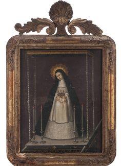 Anónimo mexicano, Virgen de la Soledad de La Victoria de Madrid, óleo sobre tela, 40.5 x 32 cm., ca. 182'-50, colección particular, fotografía propiedad de Galerías Louis C. Morton, catalogación: Juan Carlos Cancino.