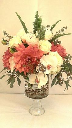 Dahlias and orchids.