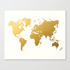 Gold+World+Map+Canvas+Print+by+Samantha+Ranlet+-+$85.00