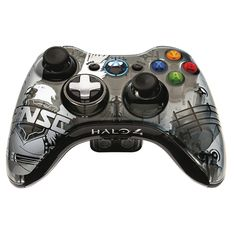 Xbox 360 Halo 4 UNSC Controller with blue lights.