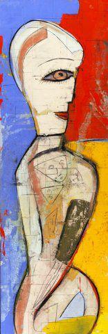 """JAMALI """"Pretty Woman Series #15801"""" 72x24 pigment on cork"""