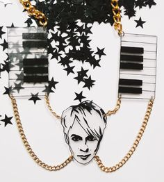 Nick Rhodes 'The Controller' Duran Duran illustrated shrink plastic statement necklace with gold chain and synth design detail. by littleMclothing on Etsy
