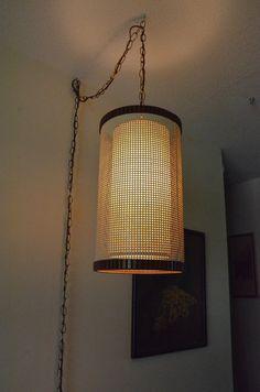 Mid Century Modern 2 Layer Mesh Hanging Swag Light Lamp Fixture Vintage