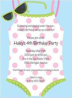 Polka Dots Swimsuit Sunglasses Birthday Party Invitations, 14711