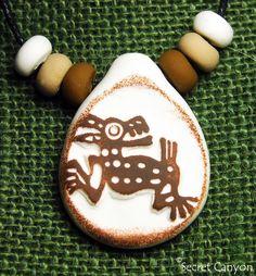 Coyote Petroglyph ~Aztec Mayan Inca Toltec~Handmade Primitive Clay Pendant #SecretCanyon