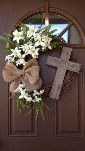 Easter Wreath with Cross - Rustic Grapevine Easter Wreath with Burlap Bow - Easter Decorations- Easter Decor - Easter Front Door Wreath, Spring decor, Spring wreath, home decor by toni Spring Door Wreaths, Easter Wreaths, Spring Wreaths For Front Door Diy, Yarn Wreaths, Floral Wreaths, Summer Wreath, Holiday Wreaths, Porte Diy, Couronne Diy