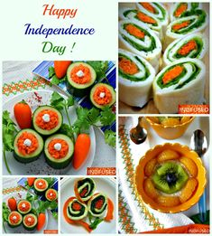 Tricolor recipes to celebrate Indian Independence Day! Fun recipes to make and enjoy with kids! Nutritious and nectarous Overnight Oats in Coconut Milk, Tiranga Vegetarian Sandwiches, Cool Crisp Cucumber Cups stuffed with carrot koshimbir! Cooking Recipes, Healthy Recipes, Healthy Food, Fun Recipes, Indian Independence Day, Happy Independence, Vegetarian Snacks, Vegetarian Sandwiches, Friend Recipe