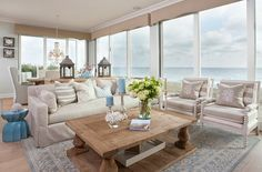 Neutral Living Room with Coastal Decor Ideas. Waterfront neutral living room with coastal decor. #Neutral #LivingRoom #CoastalDecor AGK Design Studio.