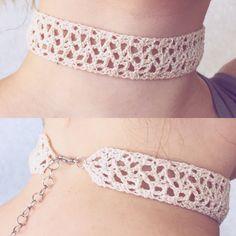 Cream Crochet Choker Fancy Lace Choker Necklace by WardleCrafts
