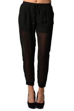 Black Chiffon Harem Pants