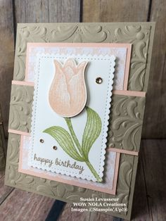 Timeless Tulips Birthday Card – Create Something Beautiful! Timeless Tulips Birthday Card – Create Something Beautiful! Handmade Birthday Cards, Greeting Cards Handmade, Birthday Gifts, Stampin Up Anleitung, Stamping Up Cards, Mothers Day Cards, Pretty Cards, Card Sketches, Sympathy Cards