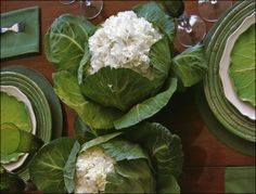 Cabbage Leaf White Flower Centerpiece