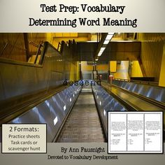 Test Prep: VocabularyDetermining Word MeaningThis test preparation packet practices vocabulary questions found on standardized tests. This set practices choosing a word or words that defines the underlined word. Included in the packet are fifteen paragraphs (five pages with three questions on each) which ask the student to determine meaning of the underlined word.In my classroom we practice this type of question by trying out the answer choices in the sentence.
