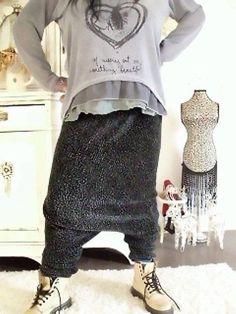 ♥haremshose ♥lagenlook ♥pluderhose upcycling opahose hippie strick boheme♥