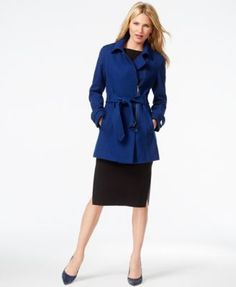 Kenneth Cole Asymmetrical-Zip Belted Trench Coat | macys.com
