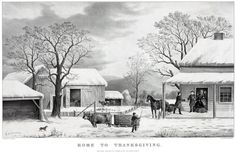 Currier & Ives lithograph  Home for Thanksgiving 1867.