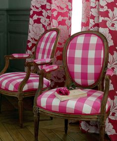 hot pink gingham: manuel canovas via Design, Darlene Weir Design, Darlene Weir Design, Darlene Weir Chinoiserie Chic, Pink Gingham, Gingham Decor, Gingham Fabric, Take A Seat, Decoration, Shabby, Sweet Home, House Design