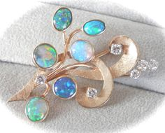 14K Gold Opal Diamond Spray Vintage Pin