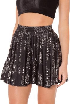 Wicked Web Silver Cheerleader Skirt - Size M High Waisted Skater Skirt, Midi Skirt, Sequin Skirt, Cheerleader Skirt, Cheerleading, Black Milk Clothing, Black Fabric, Looking For Women, A Line Skirts