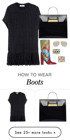 """Valentino simply dress drawed boots"" by hugohsm on Polyvore featuring Valentino, Christian Dior and Balenciaga"