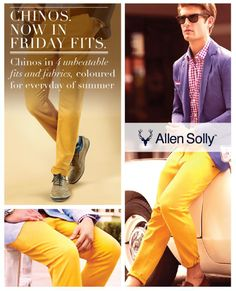 Spring has sprung!   With Allen Solly's enviable chino collection in bright hues, make the most of fashion's favourite season.
