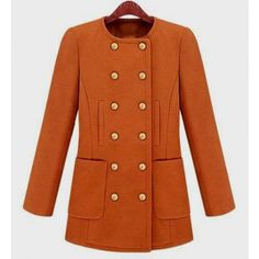 Collarless Double-breasted Orange Woolen Coat www.indressme.com $68.33 SKU: 0303061