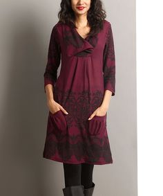 Another great find on #zulily! Plum Lace-Print Pocket Shawl Collar Dress by Reborn Collection #zulilyfinds